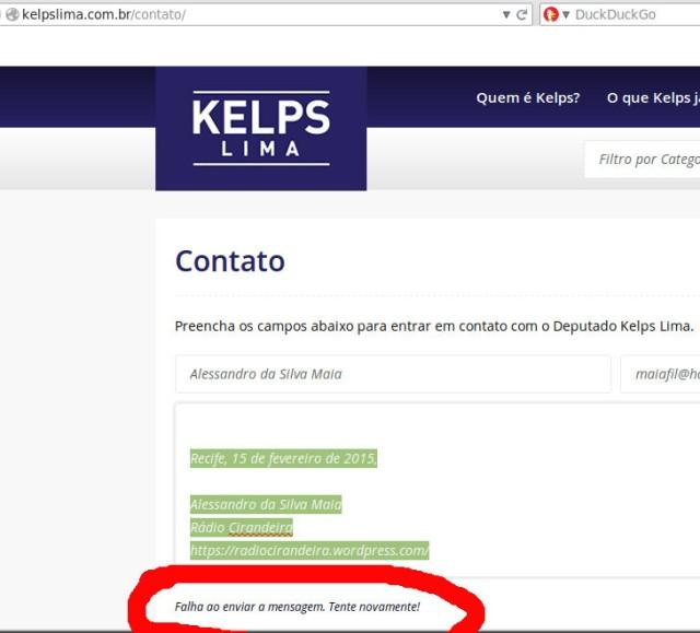 Linque Contato da Página do Deputado Kelps Apresenta Erros ao Tentarmos Enviar as Perguntas.