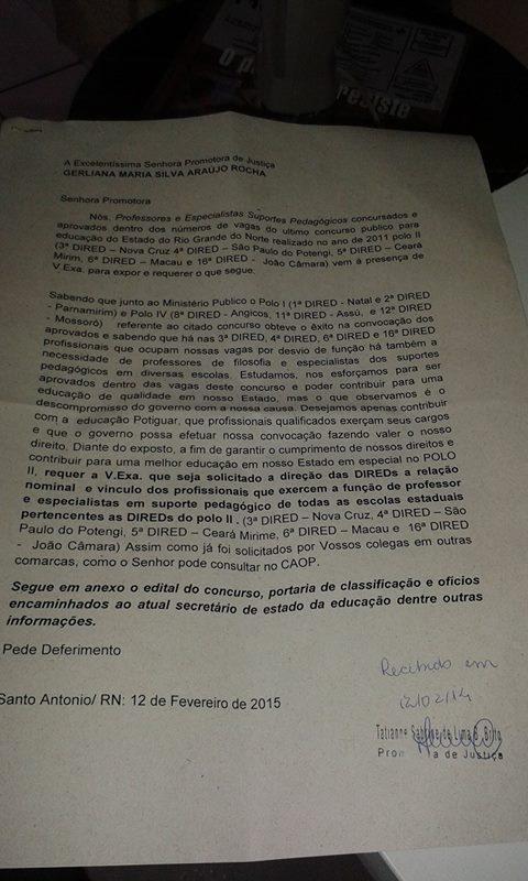 Requerimento protocolado no MPRN de Santo Antônio