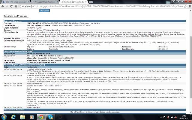 Tela com detalhes do processo que concedeu liminar a 30 Professoras e Professores do concurso SEEC/2011.