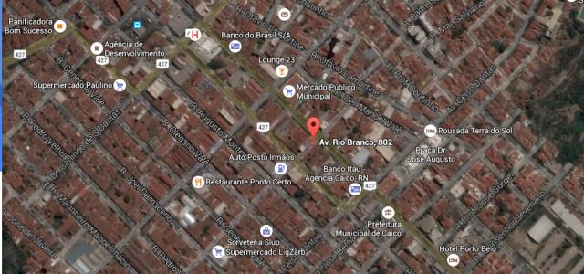 Mapa com a localização do SINTE CAICÓ