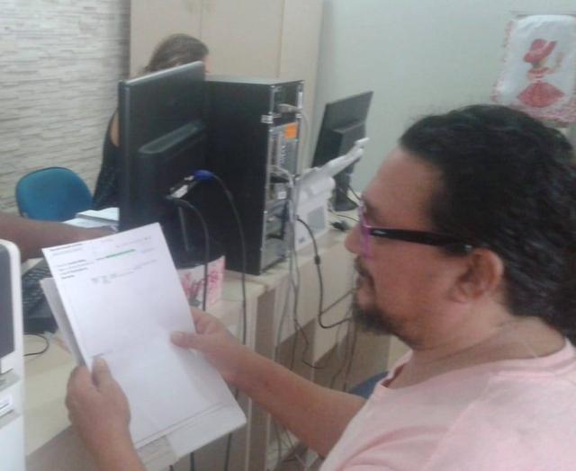 Foto tirada no dia 1º de março, de 2019 às 11 horas e 20 minutos, quando o professor Alessandro Maia, da Rádio Cirandeira, deu entrada no pedido de progressão de classe.